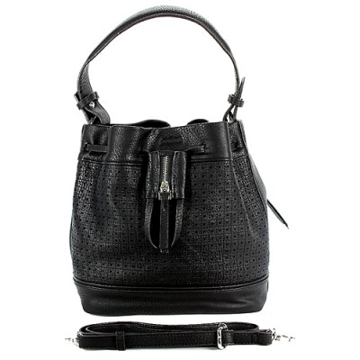 Drawstring Bucket Bags w/ Perforated Design - Black - BG-W6604BK