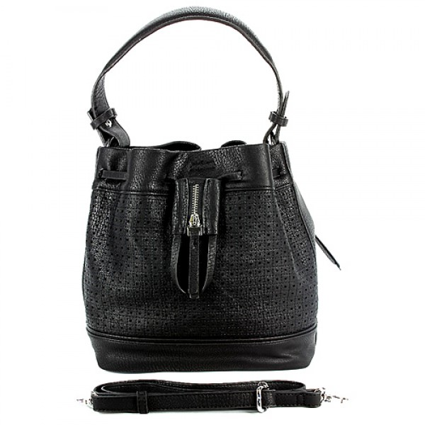 Drawstring Bucket Bags w/ Perforated Design - Black - BG-W6604BK