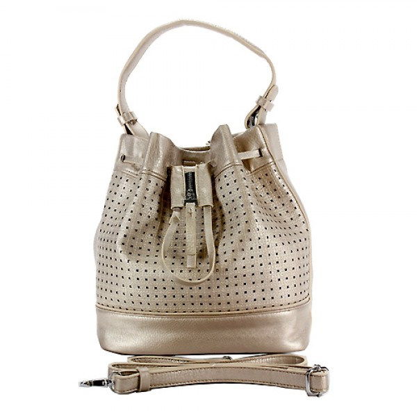 Drawstring Bucket Bags w/ Perforated Design - Champagne - BG-W6604CP