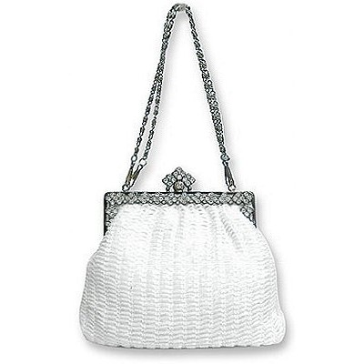 Evening Bag - Beaded w/ Rhinestoned Frame - White - BG-38694WT