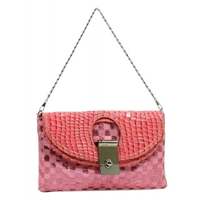 Evening Bag - Sequined Checker w/ Croc Embossed Dual Flap - Pink - BG-CE9913PK