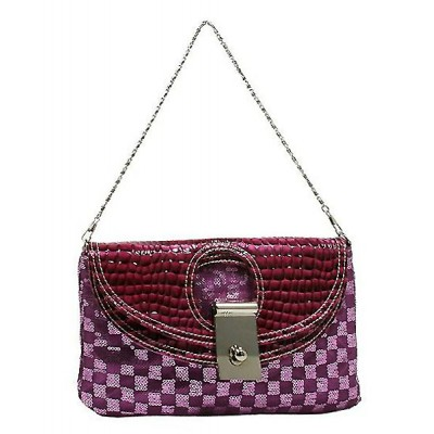 Evening Bag - Sequined Checker w/ Croc Embossed Dual Flap - Purple - BG-CE9913PL
