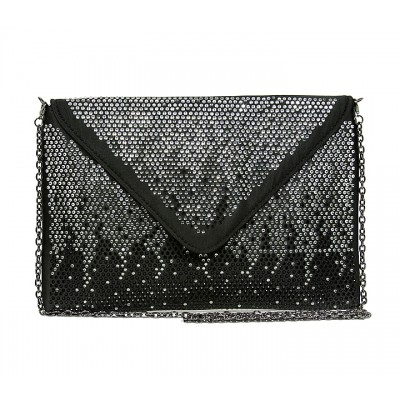 Evening Bag - Satin Envelop Clutch w/ Graident Colored Rhinestones - Black -BG-EBP2043BK