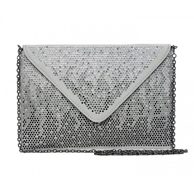 Evening Bag - Satin Envelop Clutch w/ Graident Colored Rhinestones - Gray -BG-EBP2043GY