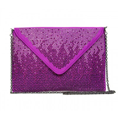 Evening Bag - Satin Envelop Clutch w/ Graident Colored Rhinestones - Purple -BG-EBP2043PL