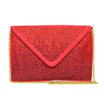 Evening Bag - Satin Envelop Clutch w/ Graident Colored Rhinestones - Red -BG-EBP2043RD