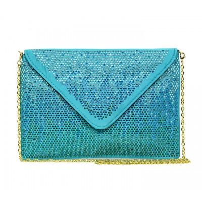 Evening Bag - Satin Envelop Clutch w/ Graident Colored Rhinestones - Turquise - BG-EBP2043TQ