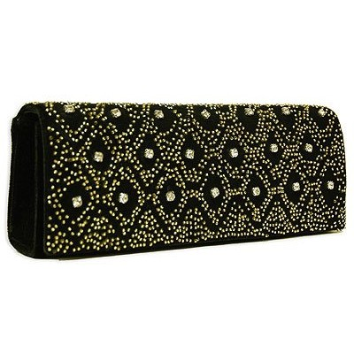 Evening Bag - Clutch - Velvet - Beaded + Rhinestone - Gold - BG-EV6542BGD