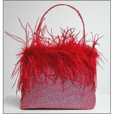Evening Bag - Beaded w/ Ostrich Feather Trim - Red - BG-EV910RD