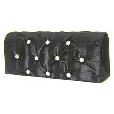 Evening Bag - Satin Embellished w/ Flower Rhinestones - Black - BG-38044BK