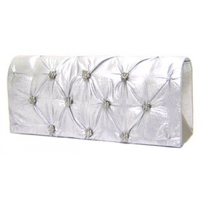 Evening Bag - Satin Embellished w/ Flower Rhinestones - Silver - BG-38044SV