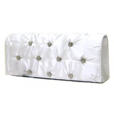 Evening Bag - Satin Embellished w/ Flower Rhinestones - White -BG-38044WT