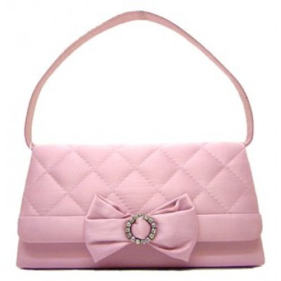 Evening Bag - Satin Quilted w/ Bow - Pink - BG-38228PK