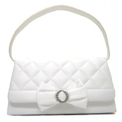 Evening Bag - Satin Quilted w/ Bow - White - BG-38228WT