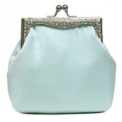 Evening Bag Satin w/ Crystal Accented Metal Frame - Light Blue - BG-40025LBL