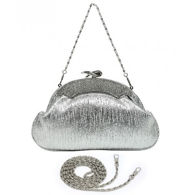 Evening Bag - Shimmer Crescent Shape W/Rhinestone Accent Frame - Silver - BG-651EL-SV