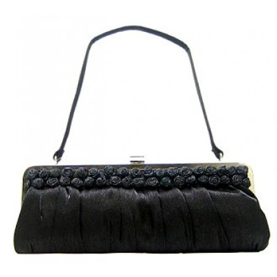 Evening Bag - Rosettes Accent Metal Frame - BG-77949BK