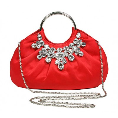 Evening Bag - Jeweled Satin w/ Metal Ring - Red - BG-90679RD