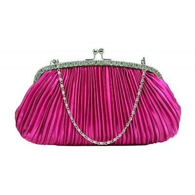 Evening Bag - Pleaded Satin Clutch w/ Frame - Fuchsia - BG-90953FU