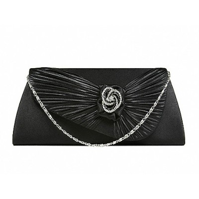 Evening Bag - Satin Pleated Flap w/ Rhinestone Rose Accent Charm - Black - BG-92026B