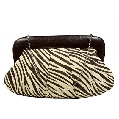 Evening Bag - Pleated Zebra Print w/ Leather Like Frame - Brown - BG-92089BR