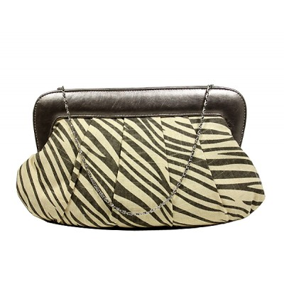 Evening Bag - Pleated Zebra Print w/ Leather Like Frame - Gray - BG-92089GY