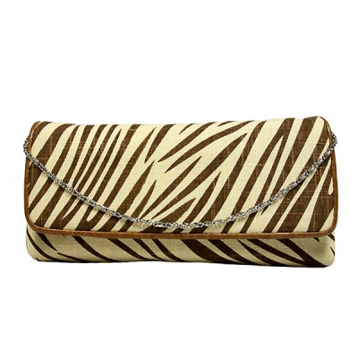 Evening Bag - Zebra Print w/ Flap - Beige - BG-92090BEI