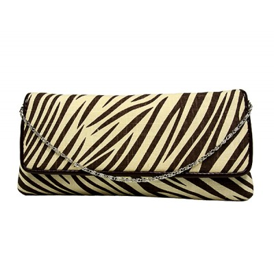 Evening Bag - Zebra Print w/ Flap - Brown - BG-92090BR