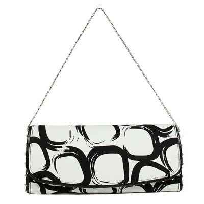 Evening Bag - Geometry Print w/ Flap - White - BG-92117WB