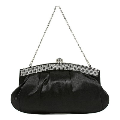 Evening Bag - Pleated Satin w/ Beads Accent - Black - BG-E70973BK
