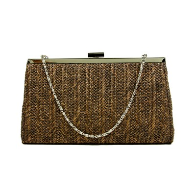 Evening Bag - Braided Straw Like w/ Metal Frame - Brown - BG-92070BR