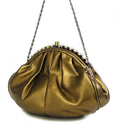 Evening Bag - PU Leather w/ Glass Beads on Top - Bronze - BG-43312BZ