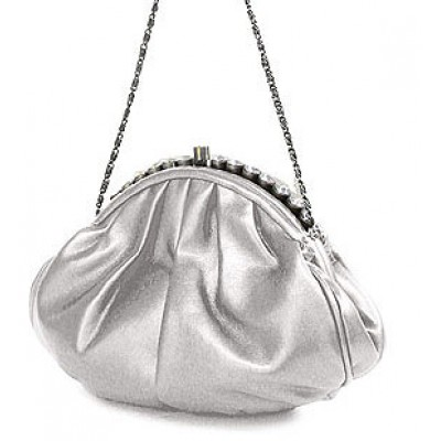 Evening Bag - PU Leather w/ Glass Beads on Top - Silver - BG-43312SV