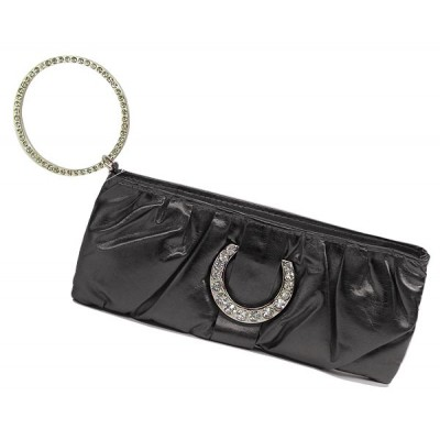 Evening Bag - Shiny Leather-Like Pleated w/ Crystal Accent Ring - Black - BG-90373B