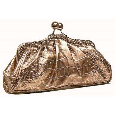 Evening Bag - Metallic Embossed w/ Rhinestone Frame - Brown - BG-EV6145BN