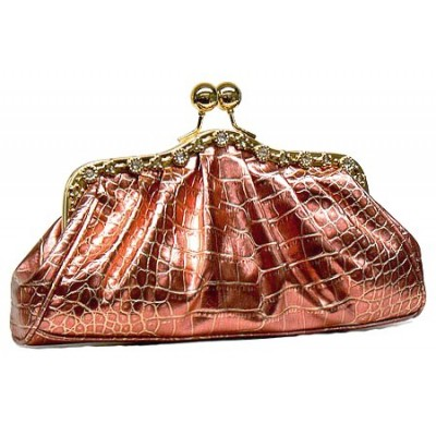Evening Bag - Metallic Embossed w/ Rhinestone Frame - Red - BG-EV6145RDe