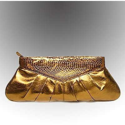 Clutch - Soft Leather-Like w/ Snake Embossed Trim - Bronze - BG-90247BZ