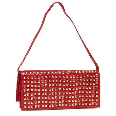 Evening Bag - Clutch w/ Pyramid Metal Studs - Red -BG-90275R