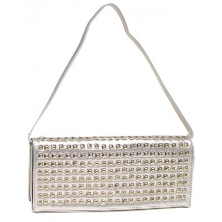 Evening Bag - Clutch w/ Pyramid Metal Studs - Silver -BG-90275S