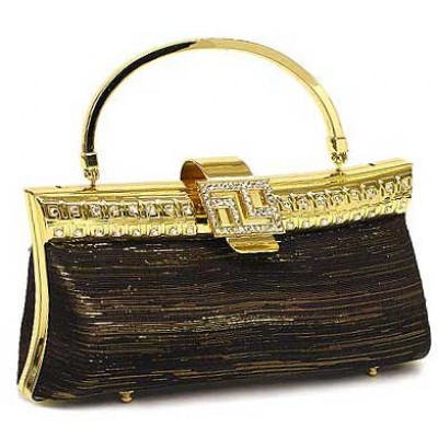 Evening Bag - Metallic w/ Swarovski Crystal Accent Closure - Black - BG-DG1021DCBK