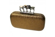 Evening Bag - Skull & Stone Knuckle Clutch Bags - Bronze - BG-EHP7101BZ