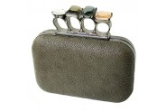 Evening Bag - Small Jeweled Stones Knuckle Clutch Bags - Pewter - BG-EHP7103PT