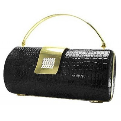 Evening Bag - Snake Skin Embossed Clutch w/ Swarovski Crystal Accent Closure - Black - BG-HPR377B