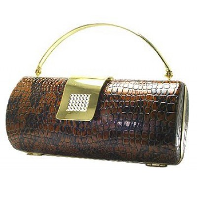 Evening Bag - Snake Skin Embossed Clutch w/ Swarovski Crystal Accent Closure - Brown - BG-HPR377BR