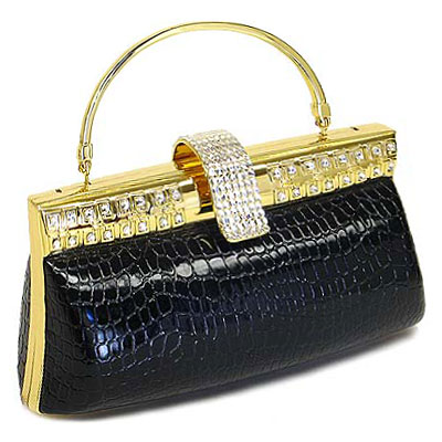Evening Bag - Croc Embossed Clutch w/ Swarovski Crystal Accent Closure - Black - BG-HPR999B