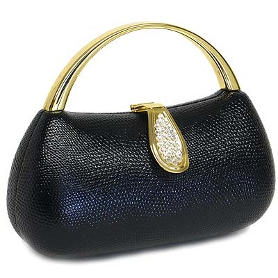 Evening Bag - Liz Embossed Clutch w/ Swarovski Crystal Accent Closure - Black - BG-HPZ166B