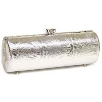 Evening Bag - Liz Embossed Clutch w/ Swarovski Crystal Accent Closure - Silver - BG-HPZ442S