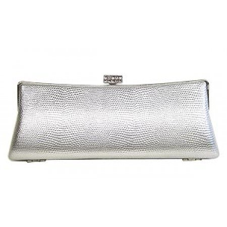 Evening Bag - Embossed Lizard Skin Like w/ Swarovski Crystal Accent Closure - Silver - BG-HPZ443S