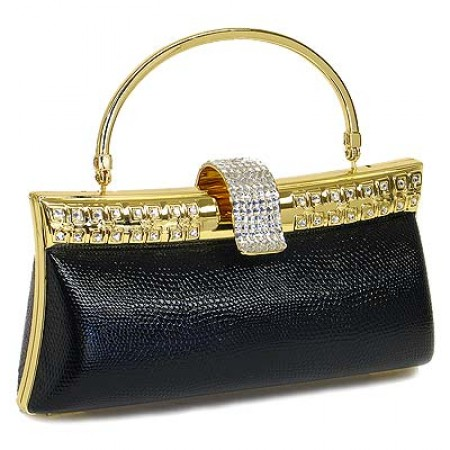 Evening Bag - Liz Embossed Clutch w/ Swarovski Crystal Accent Closure - Black - BG-HPZ999B