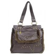 Shearling Handbag w/ Studs - Brown - BG-1744BN